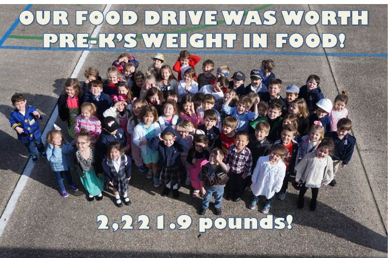 St. Joseph Elementary donated 2,221.9 pounds to the Food Bank.  That's the weight of our entire PK class!