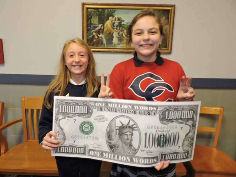 Central Catholic Elementary School is proud to announce that two of its 5th grade students have read 4 million and 3 million words so far during this 2018-2019 school year. After reading each book, the students are tested through the Accelerated Reader Program on classroom or library computers verifying their accomplishment.