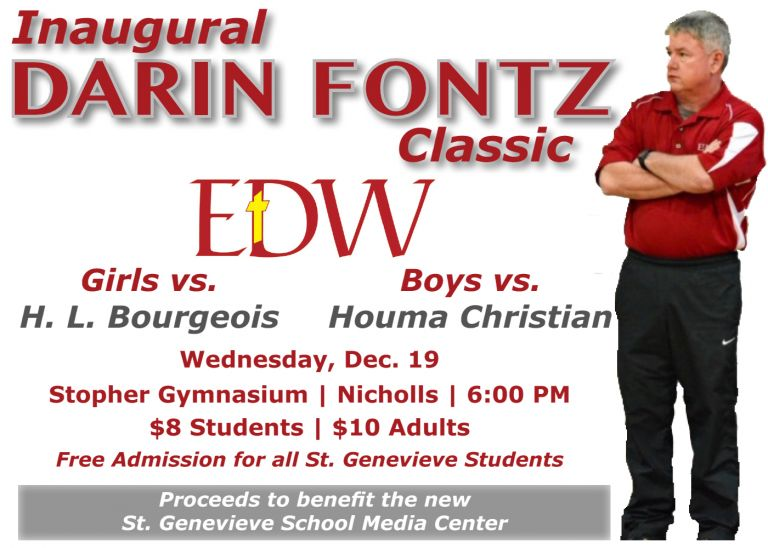 The Darin Fontz Classic will become an annual fund-raising event sponsored by E. D. White Catholic High School.  We are so grateful and humbled that the Fontz family has chosen St. Genevieve School to be the first recipient of the funds raised by this event.  Thank you Celeste and Lauren!