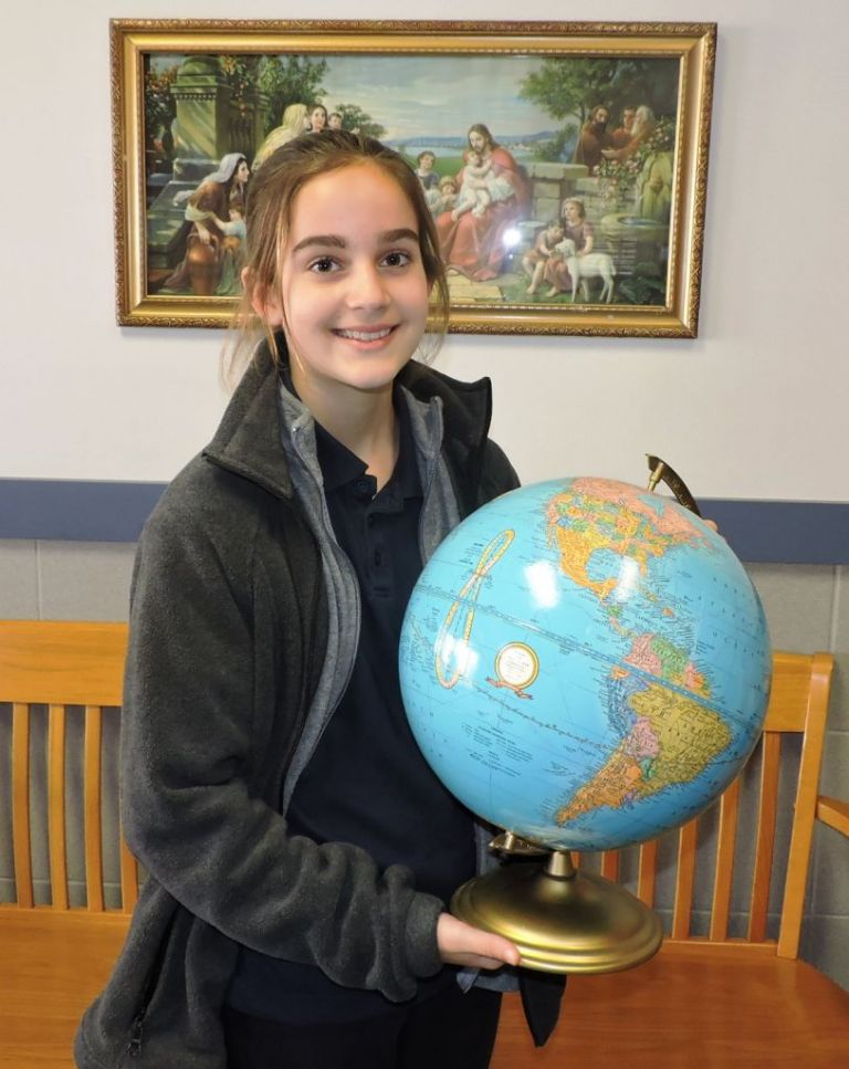 Central Catholic Elementary School proudly announces the winner of the school-level competition of the National Geographic Bee recently. At the school-level Bee, students in 4th and 5th grade answered oral questions on geography. An online test has been taken that could qualify her for the state GeoBee on March 29, 2019.